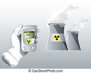 Radiation care - Hand with Geiger counter near nuclear power...