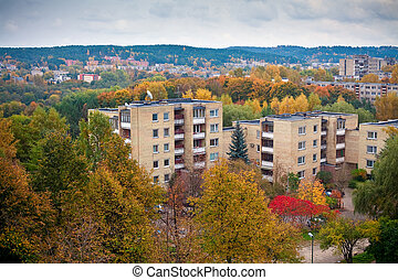 Autumn In Vilnius - view of urban residential district in...