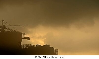 Sandstorm,Dark clouds and fog cover sun sky,building...