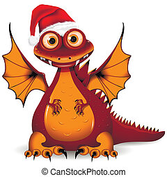 dragon in red cap - illustration, a funny red dragon, the...