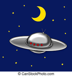 UFO flying saucer - flying saucer in night sky with stars...
