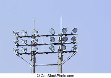 stadium floodlight , blue sky