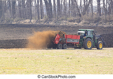 campos, arada,  tractor