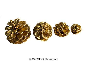 Golden Pine Cones - golden pine cones isolated on a white...