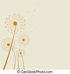 abstract dandelion - Illustrated abstract dandelion on a...