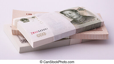 wads of money - Wads of 1 yuan bills