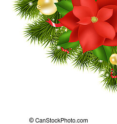 Xmas Composition With Red Poinsettia, Isolated On White...