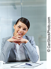 Pretty businesswoman - Image of young good-looking employer...