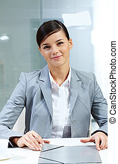 Good-looking employer - Image of young good-looking employer...