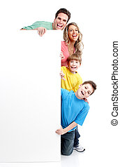 Happy family with banner Over white background