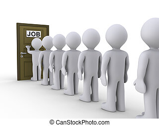 Knocking on door for job - 3d people in line waiting for job...