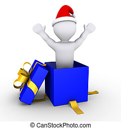 Boy coming out of a present - 3d person inside a blue box is...