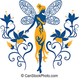 Fairy Silhouette - Fairy silhouette isolated on white...