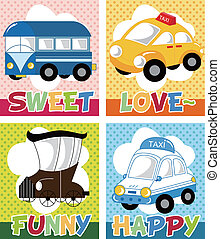 cartoon car card