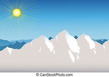 Mountain Range Background - Spring in the Mountains with...