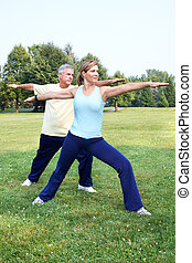 Senior couple doing yoga - Senior couple doing yoga in the...