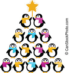 Cute Penguins creating Christmas Tree isolated on white -...