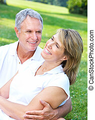 Happy elderly couple - Happy senior couple in love in the...
