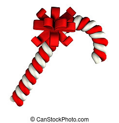 Candy cane on white background - 3d sweet candy cane on...