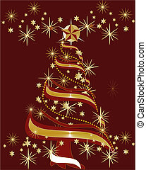 Festive holidays tree - Christmas or Festive Tree in gold,...