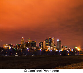 Glowy Kansas City, Missouri Skyscape - A night image of...