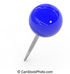 Blue pushpin on a white background.