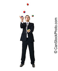Juggling man - Juggling businessman isolated on white...
