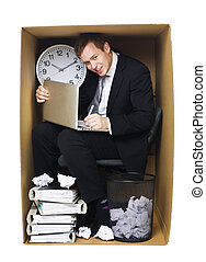 Businessman in a tight office - Businessman in a very tight...