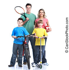 Happy family. Healthy lifestyle. Over white background.