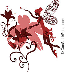 Fairy silhouette isolated on white background with flowers