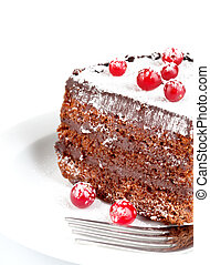 chocolate cake with berry isolated on white background