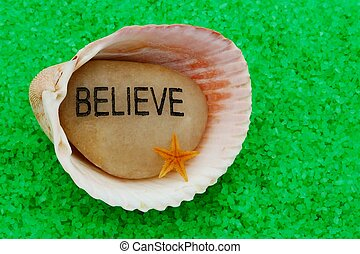 Believe Stone in Seashell - There is copy space to present a...