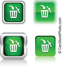 Delete icons. - Delete square buttons. Vector illustration....
