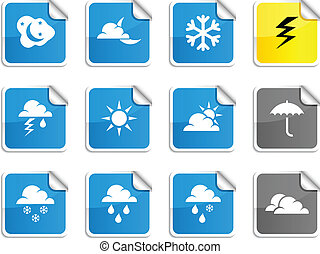 Weather stickers. - Weather set of square glossy stickers.