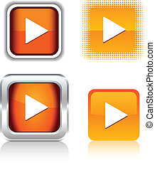 Play  icons. - Play  square buttons. Vector illustration.