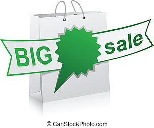 BIG sale green symbol. - Vector illustratin of big sale...