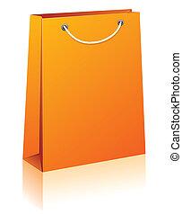 Orange shopping bag. - Vector illustration of paper shopping...