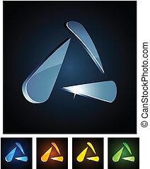 3D, vibrante, triangulo