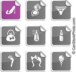 Women stickers. - Women set of square glossy stickers.