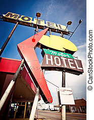 Old motel sign on Route 66, USA