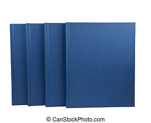 Four blue notepads isolated on white background