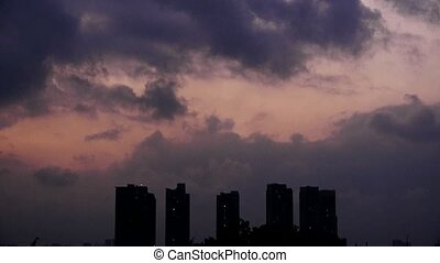 Dark clouds cover sky at evening,building high-rise,House...