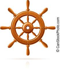 barco, rueda, marina, de madera, vendimia