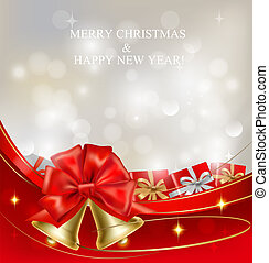 Background with red bow, bells and ribbons. Vector...