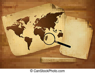 Old map and old paper on wooden background. Vector...