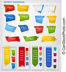 Huge set of colorful origami paper banners and stickers...