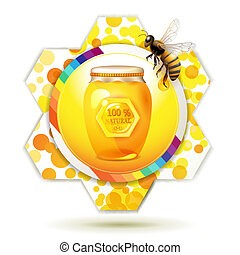 Glass jar with bee