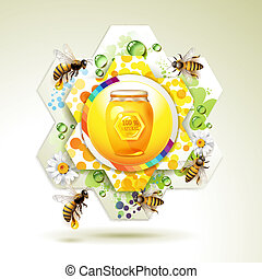 Glass jar with bees - Glass jar with bee and honeycomb over...