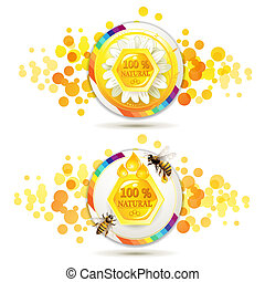 Bees and honeycombs over design shape background