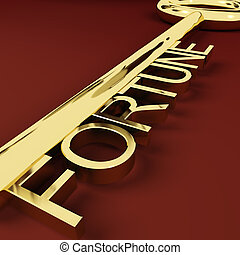 Fortune Gold Key Representing Luck And Riches